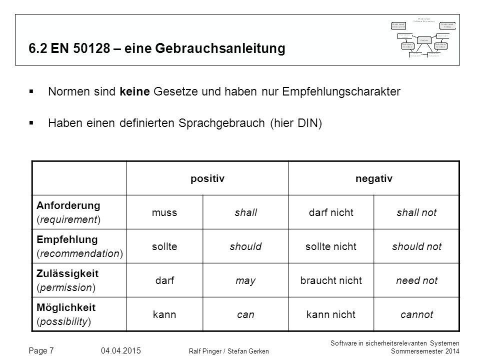Software in sicherheitsrelevanten Systemen Sommersemester 2014 04.04.2015 Ralf Pinger / Stefan Gerken Page 7 6.2 EN 50128 – eine Gebrauchsanleitung 