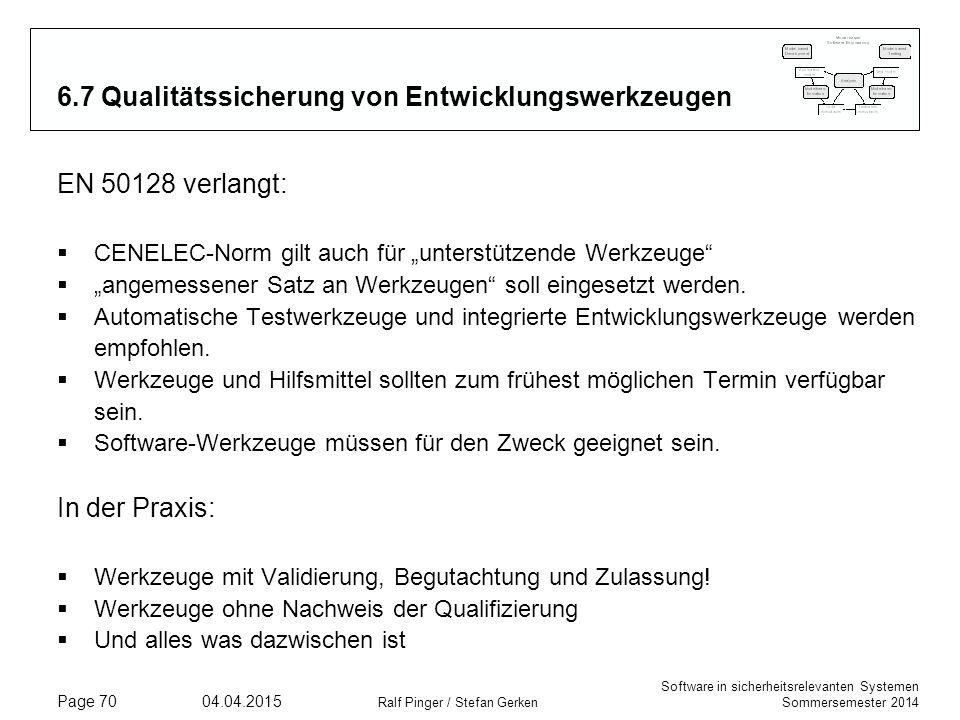 Software in sicherheitsrelevanten Systemen Sommersemester 2014 04.04.2015 Ralf Pinger / Stefan Gerken Page 70 6.7 Qualitätssicherung von Entwicklungsw