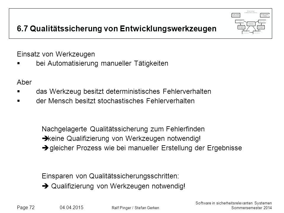 Software in sicherheitsrelevanten Systemen Sommersemester 2014 04.04.2015 Ralf Pinger / Stefan Gerken Page 72 6.7 Qualitätssicherung von Entwicklungsw