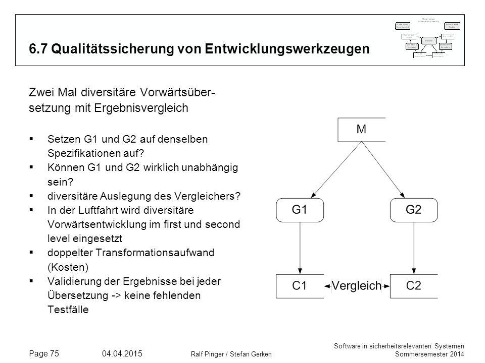 Software in sicherheitsrelevanten Systemen Sommersemester 2014 04.04.2015 Ralf Pinger / Stefan Gerken Page 75 6.7 Qualitätssicherung von Entwicklungsw