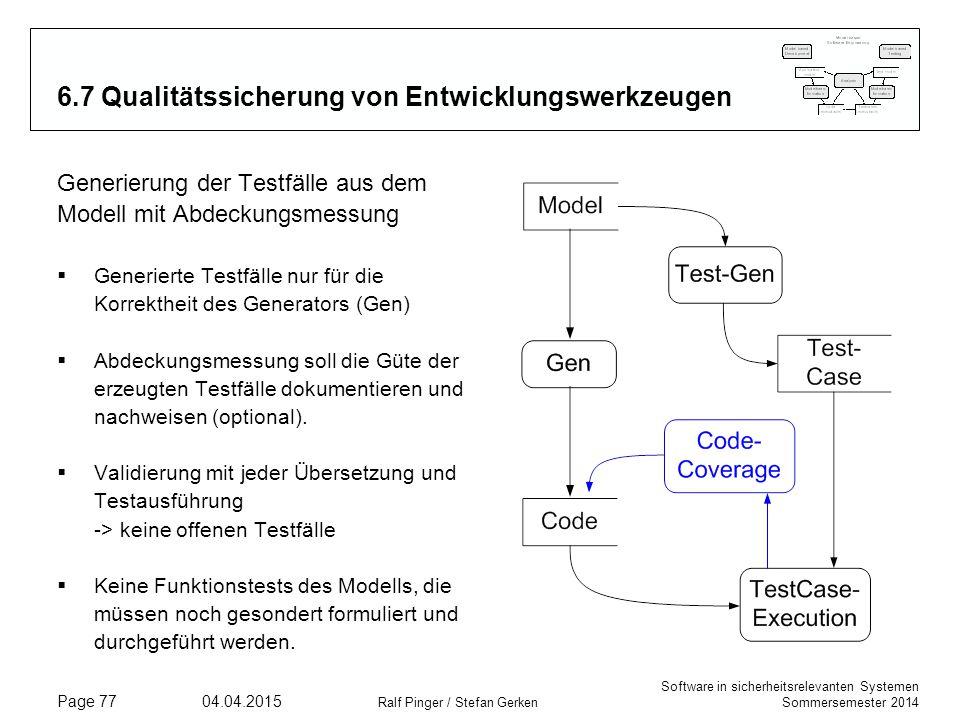 Software in sicherheitsrelevanten Systemen Sommersemester 2014 04.04.2015 Ralf Pinger / Stefan Gerken Page 77 6.7 Qualitätssicherung von Entwicklungsw