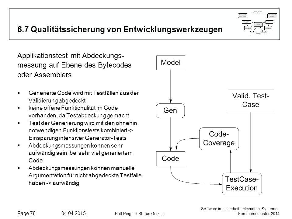 Software in sicherheitsrelevanten Systemen Sommersemester 2014 04.04.2015 Ralf Pinger / Stefan Gerken Page 78 6.7 Qualitätssicherung von Entwicklungsw