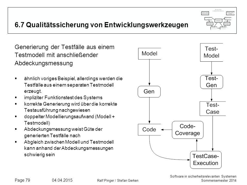 Software in sicherheitsrelevanten Systemen Sommersemester 2014 04.04.2015 Ralf Pinger / Stefan Gerken Page 79 6.7 Qualitätssicherung von Entwicklungsw
