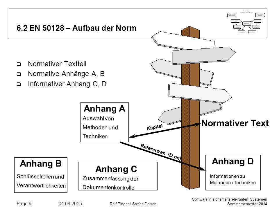 Software in sicherheitsrelevanten Systemen Sommersemester 2014 04.04.2015 Ralf Pinger / Stefan Gerken Page 9 6.2 EN 50128 – Aufbau der Norm q Normativ