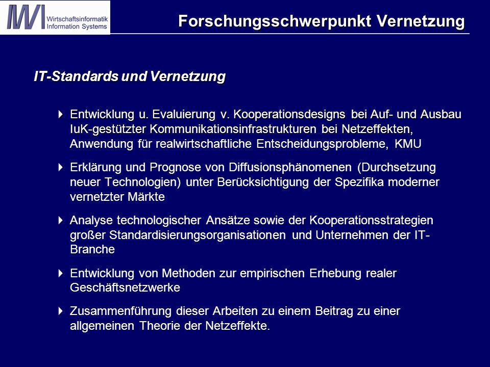 Forschungsschwerpunkt Vernetzung IT-Standards und Vernetzung  Entwicklung u.