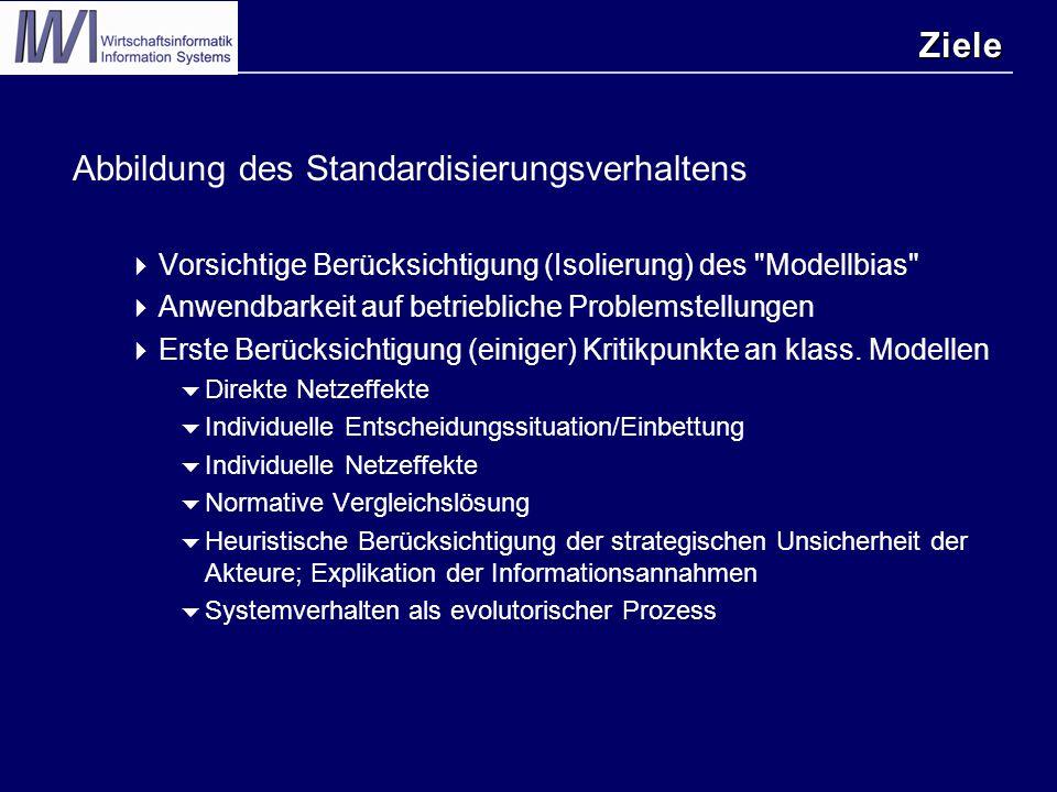 Ziele Abbildung des Standardisierungsverhaltens  Vorsichtige Berücksichtigung (Isolierung) des Modellbias  Anwendbarkeit auf betriebliche Problemstellungen  Erste Berücksichtigung (einiger) Kritikpunkte an klass.