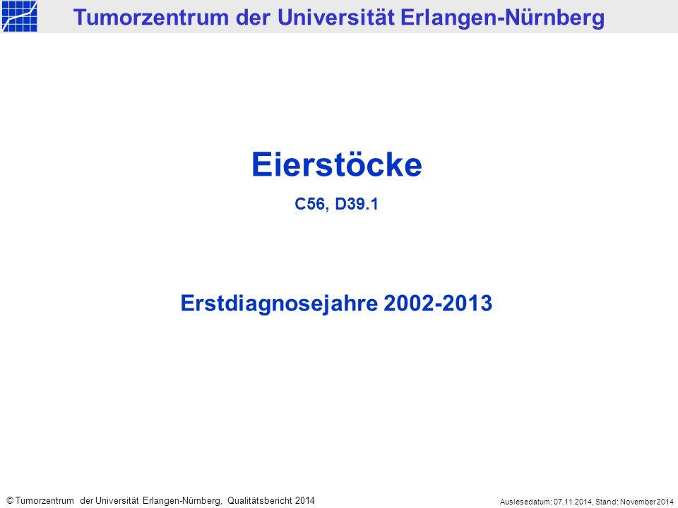 Eierstöcke C56, D39.1 Erstdiagnosejahre 2002-2013 Tumorzentrum der Universität Erlangen-Nürnberg © Tumorzentrum der Universität Erlangen-Nürnberg, Qualitätsbericht 2014 Auslesedatum: 07.11.2014, Stand: November 2014