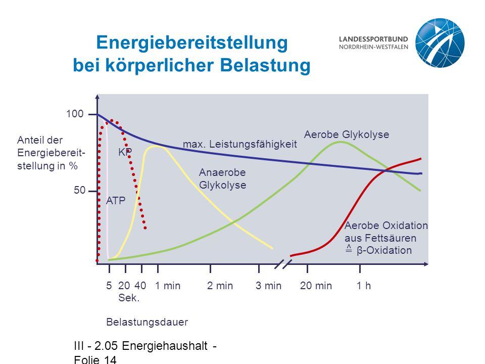 III - 2.05 Energiehaushalt - Folie 14 51 min2 min3 min20 min1 h Belastungsdauer Anteil der Energiebereit- stellung in % 50 100 2040 Sek.