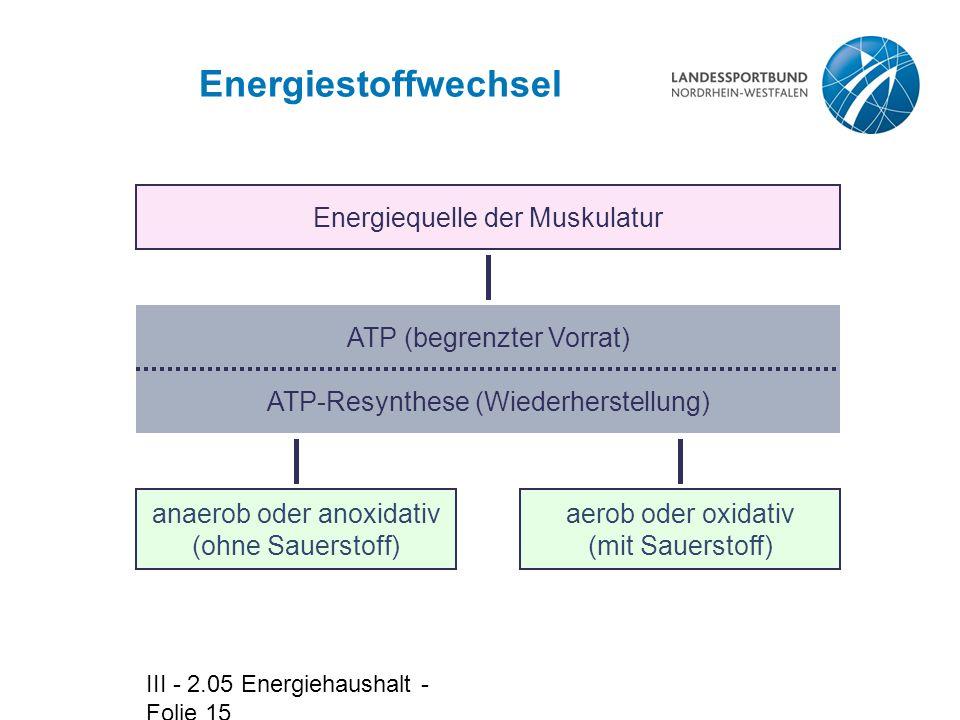 III - 2.05 Energiehaushalt - Folie 15 Energiestoffwechsel Energiequelle der Muskulatur ATP (begrenzter Vorrat) anaerob oder anoxidativ (ohne Sauerstoff) aerob oder oxidativ (mit Sauerstoff) ATP-Resynthese (Wiederherstellung)