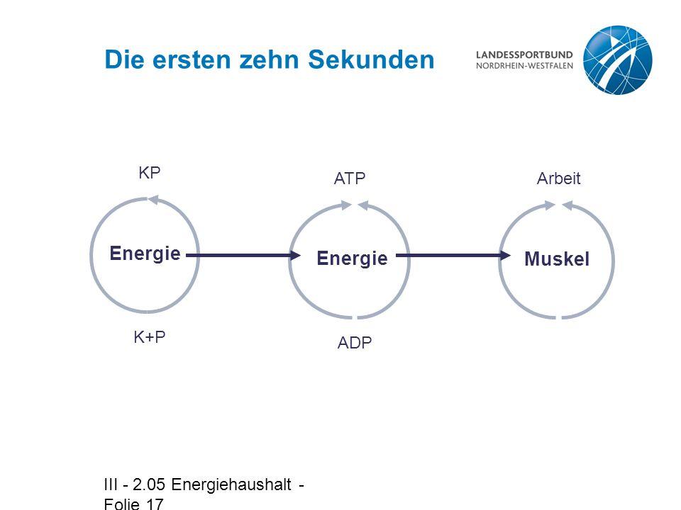 III - 2.05 Energiehaushalt - Folie 17 Die ersten zehn Sekunden Arbeit Muskel ADPATP Energie K+P KP Energie