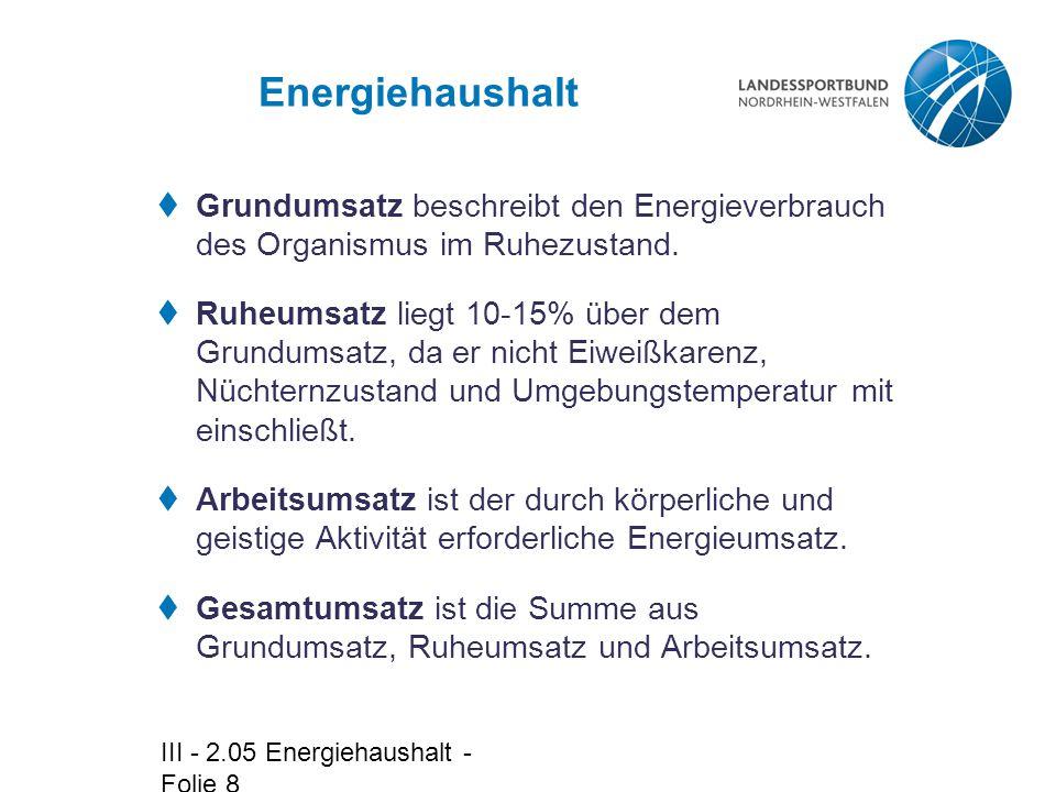 III - 2.05 Energiehaushalt - Folie 8 Energiehaushalt  Grundumsatz beschreibt den Energieverbrauch des Organismus im Ruhezustand.