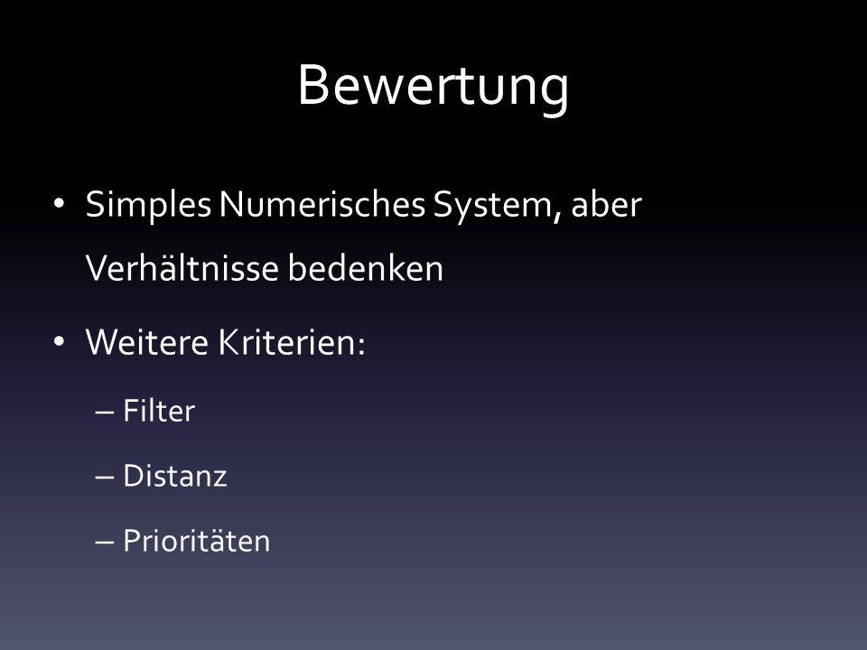 Bewertung Simples Numerisches System, aber Verhältnisse bedenken Weitere Kriterien: – Filter – Distanz – Prioritäten