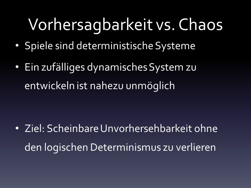 Exkurs: Chaos Theorie Chaos ungleich Zufall.