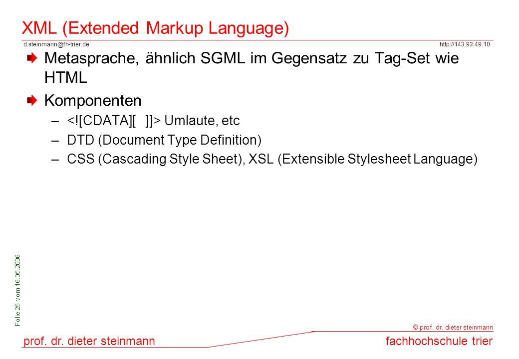 d.steinmann@fh-trier.dehttp://143.93.49.10 prof. dr. dieter steinmannfachhochschule trier © prof. dr. dieter steinmann Folie 25 vom 16.05.2006 XML (Ex