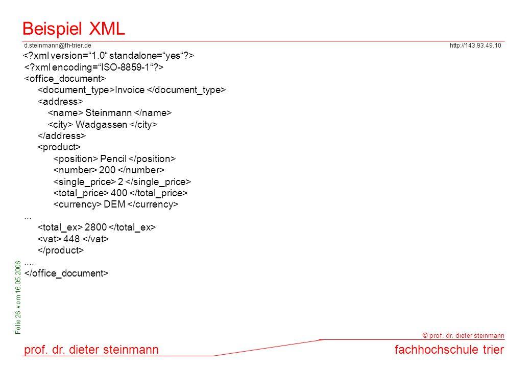 d.steinmann@fh-trier.dehttp://143.93.49.10 prof. dr. dieter steinmannfachhochschule trier © prof. dr. dieter steinmann Folie 26 vom 16.05.2006 Beispie