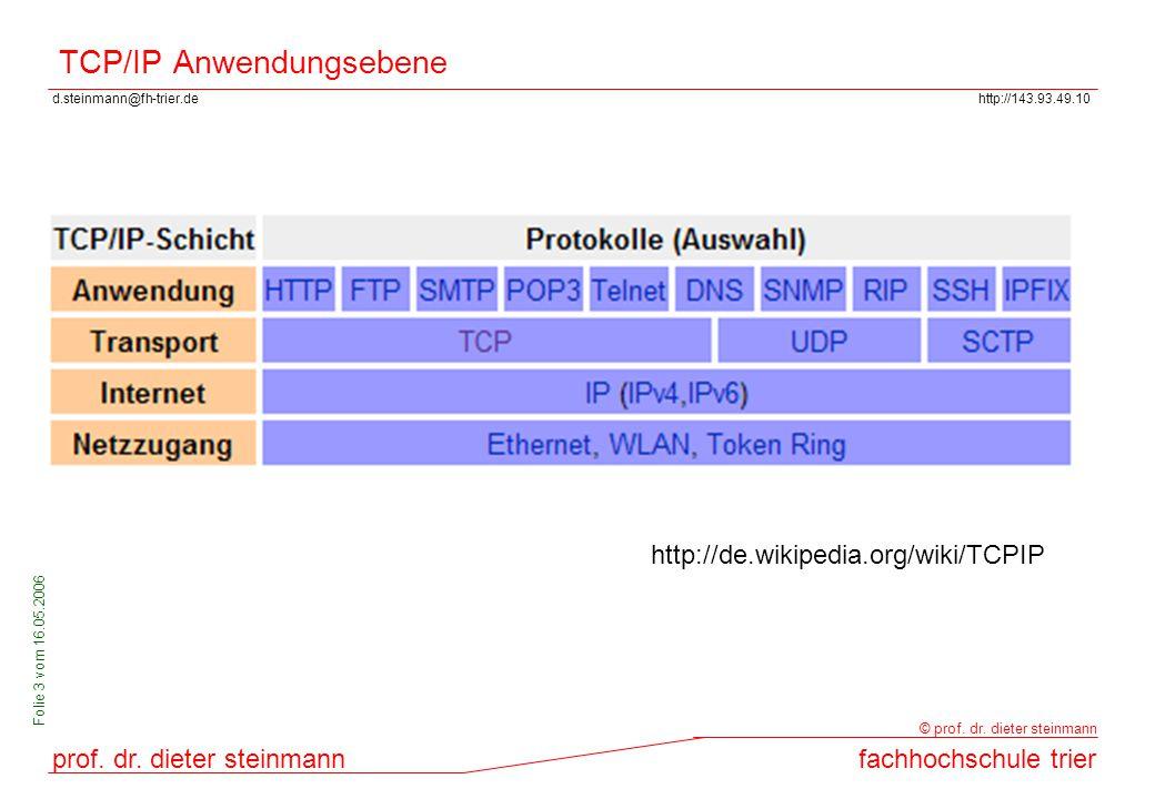 d.steinmann@fh-trier.dehttp://143.93.49.10 prof. dr. dieter steinmannfachhochschule trier © prof. dr. dieter steinmann Folie 3 vom 16.05.2006 TCP/IP A