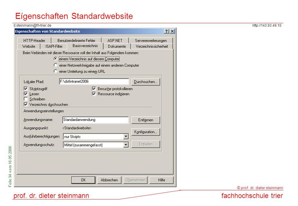 d.steinmann@fh-trier.dehttp://143.93.49.10 prof. dr. dieter steinmannfachhochschule trier © prof. dr. dieter steinmann Folie 34 vom 16.05.2006 Eígensc