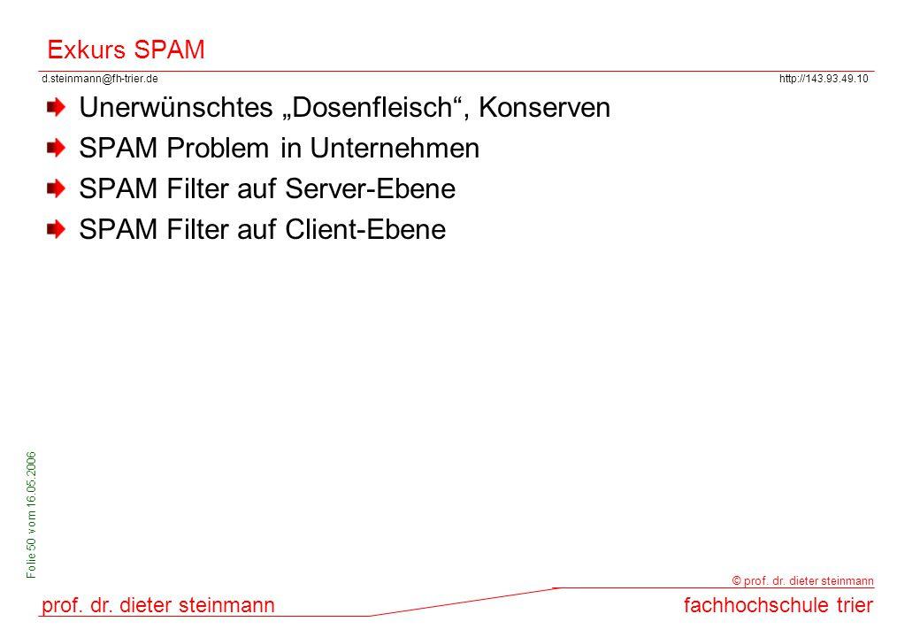 d.steinmann@fh-trier.dehttp://143.93.49.10 prof. dr. dieter steinmannfachhochschule trier © prof. dr. dieter steinmann Folie 50 vom 16.05.2006 Exkurs