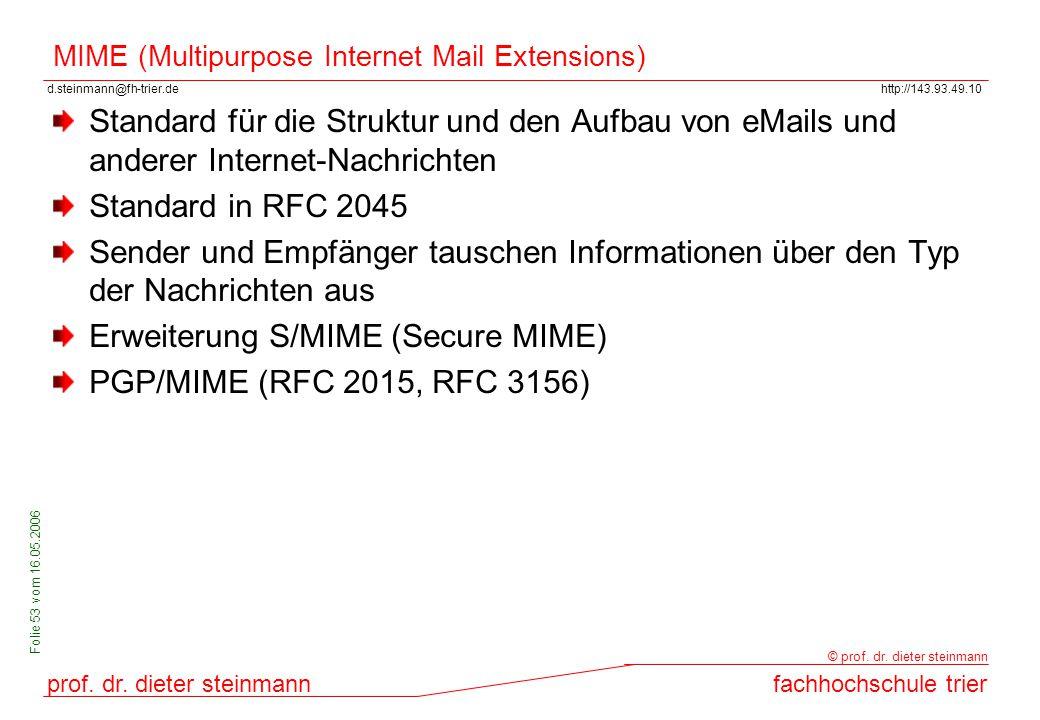 d.steinmann@fh-trier.dehttp://143.93.49.10 prof. dr. dieter steinmannfachhochschule trier © prof. dr. dieter steinmann Folie 53 vom 16.05.2006 MIME (M