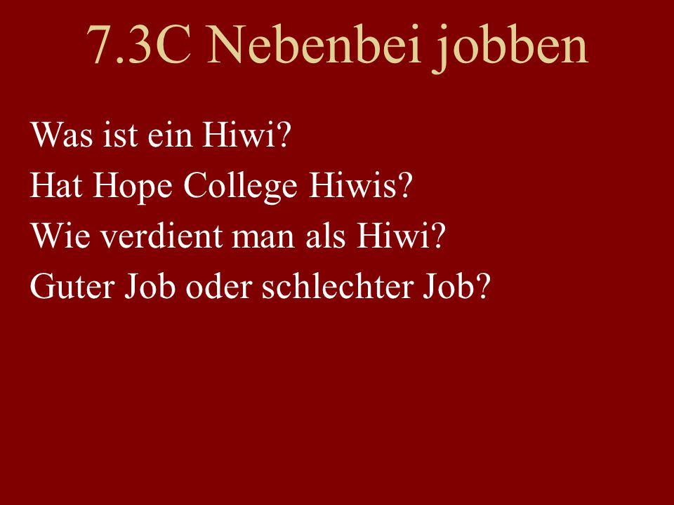 7.3C Nebenbei jobben Was ist ein Hiwi. Hat Hope College Hiwis.