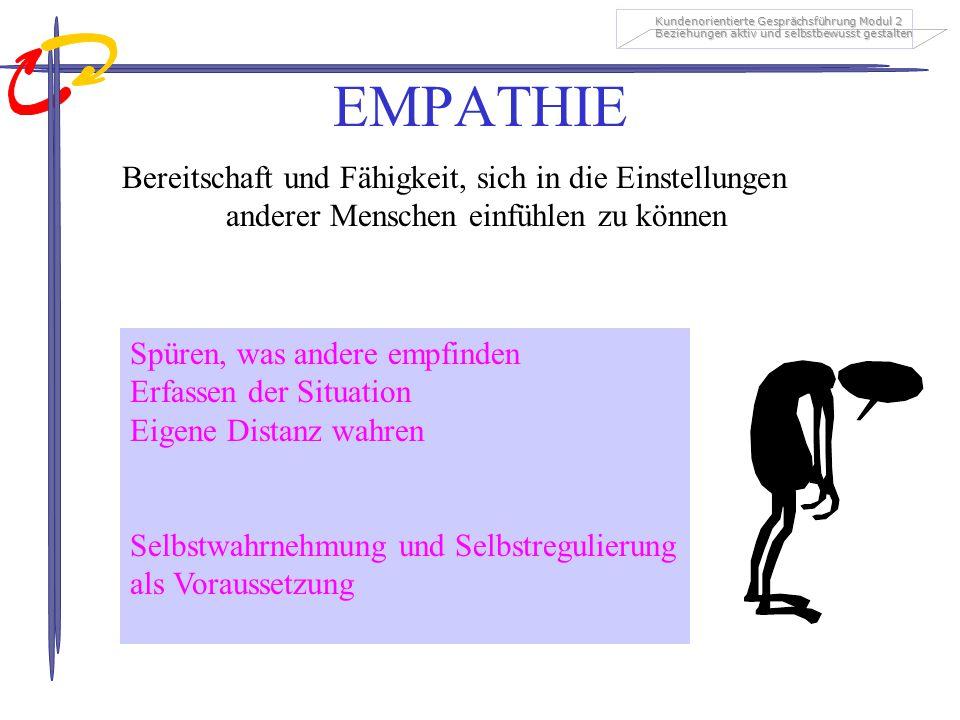 Kundenorientierte Gesprächsführung Modul 2 Beziehungen aktiv und selbstbewusst gestalten EMPATHIE Bereitschaft und Fähigkeit, sich in die Einstellunge