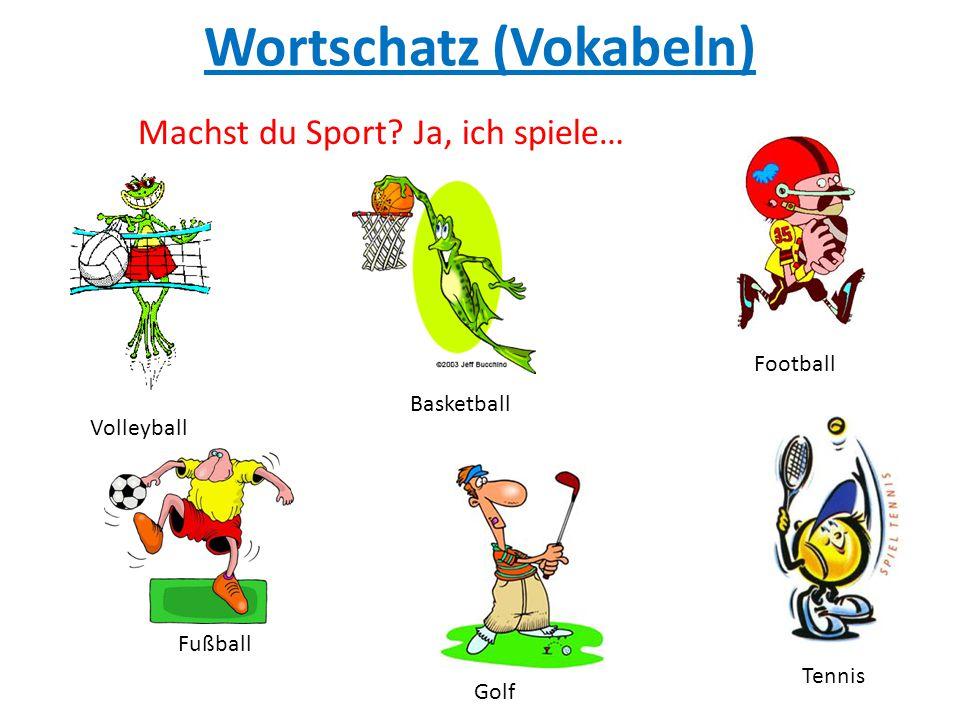Wortschatz (Vokabeln) Volleyball Basketball Fußball Tennis Machst du Sport? Ja, ich spiele… Golf Football