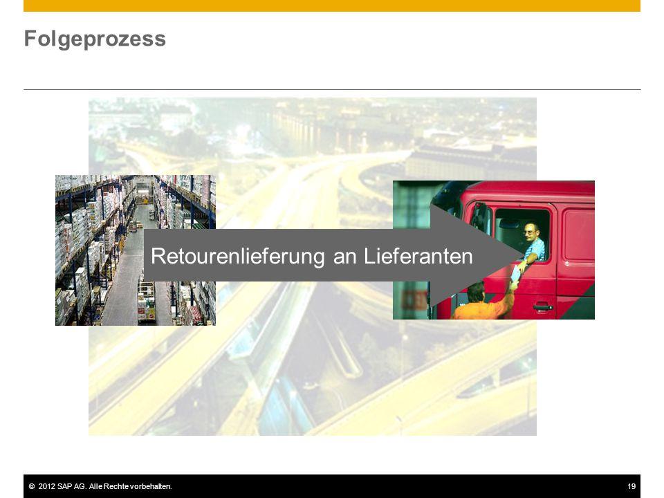 ©2012 SAP AG. Alle Rechte vorbehalten.19 Folgeprozess Retourenlieferung an Lieferanten