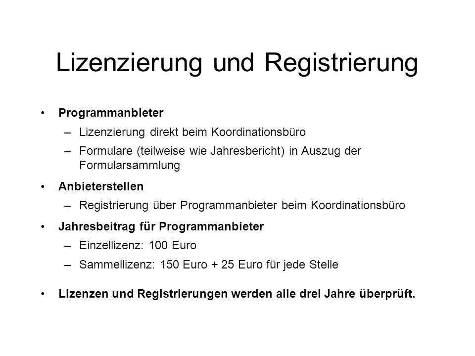 Lizenzierung und Registrierung Programmanbieter –Lizenzierung direkt beim Koordinationsbüro –Formulare (teilweise wie Jahresbericht) in Auszug der Formularsammlung Anbieterstellen –Registrierung über Programmanbieter beim Koordinationsbüro Jahresbeitrag für Programmanbieter –Einzellizenz: 100 Euro –Sammellizenz: 150 Euro + 25 Euro für jede Stelle Lizenzen und Registrierungen werden alle drei Jahre überprüft.