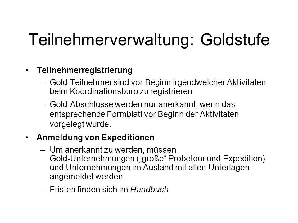Teilnehmerverwaltung: Goldstufe Teilnehmerregistrierung –Gold-Teilnehmer sind vor Beginn irgendwelcher Aktivitäten beim Koordinationsbüro zu registrieren.