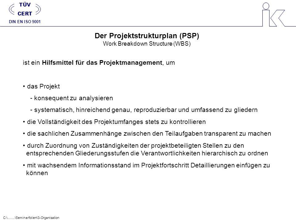 Der Projektstrukturplan (PSP) Work Breakdown Structure (WBS) ist ein Hilfsmittel für das Projektmanagement, um das Projekt - konsequent zu analysieren