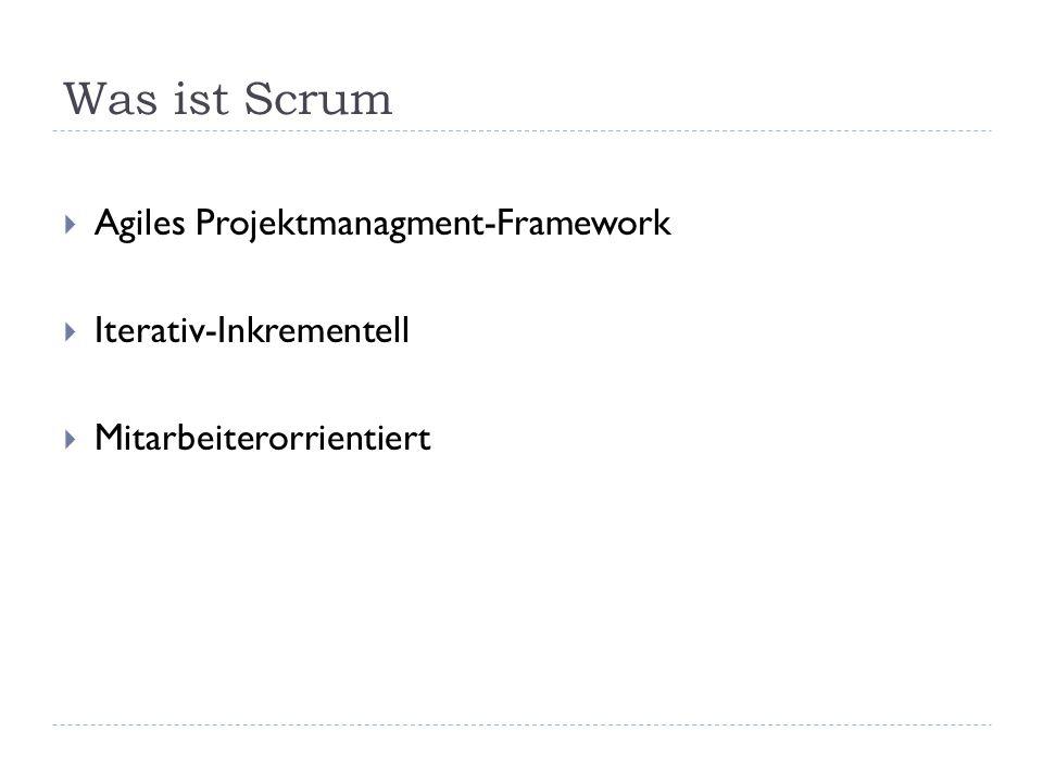 Was ist Scrum  Agiles Projektmanagment-Framework  Iterativ-Inkrementell  Mitarbeiterorrientiert