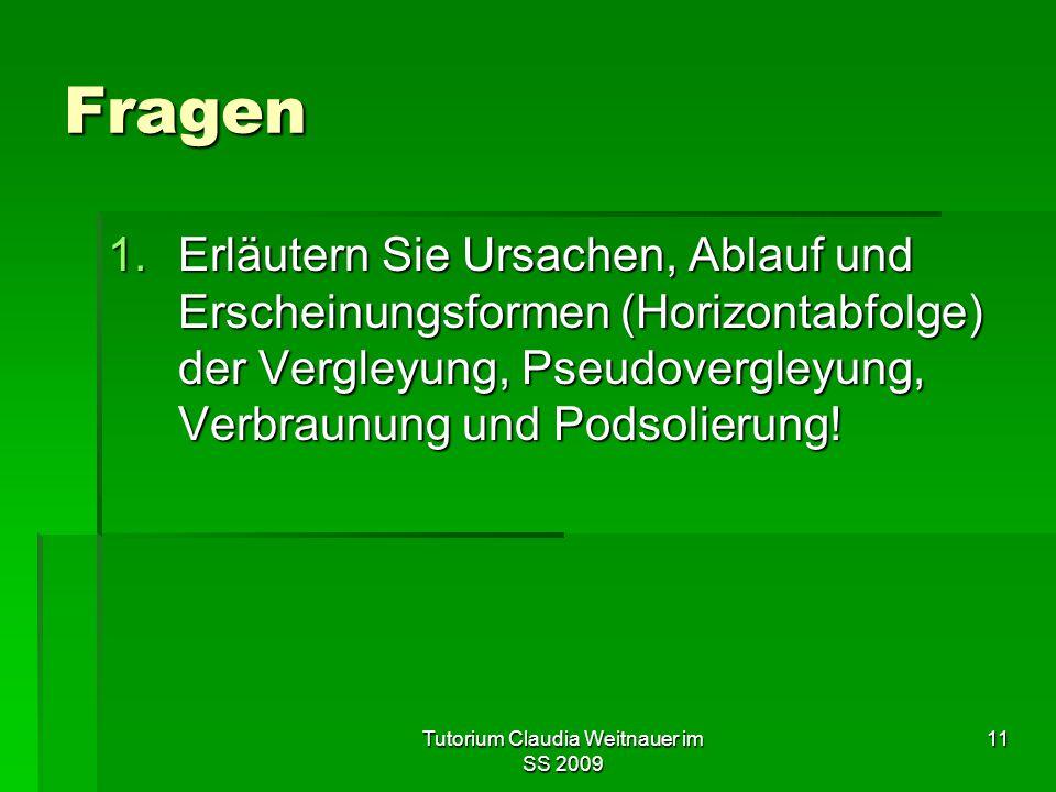 Tutorium Claudia Weitnauer im SS 2009 11 Fragen 1.Erläutern Sie Ursachen, Ablauf und Erscheinungsformen (Horizontabfolge) der Vergleyung, Pseudovergle
