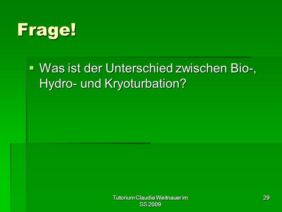 Tutorium Claudia Weitnauer im SS 2009 29 Frage!  Was ist der Unterschied zwischen Bio-, Hydro- und Kryoturbation?