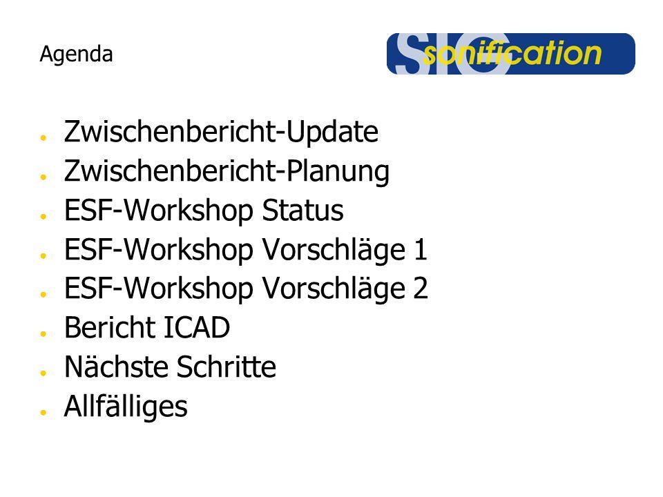 Agenda ● Zwischenbericht-Update ● Zwischenbericht-Planung ● ESF-Workshop Status ● ESF-Workshop Vorschläge 1 ● ESF-Workshop Vorschläge 2 ● Bericht ICAD ● Nächste Schritte ● Allfälliges
