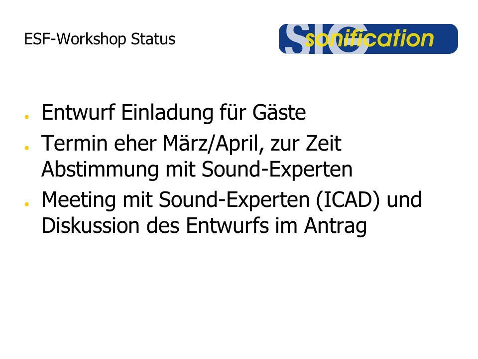 ESF-Workshop Status ● Entwurf Einladung für Gäste ● Termin eher März/April, zur Zeit Abstimmung mit Sound-Experten ● Meeting mit Sound-Experten (ICAD) und Diskussion des Entwurfs im Antrag