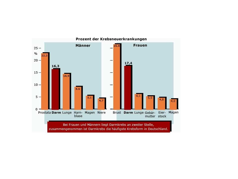 Von 100 Personen im Alter von 50 Jahren haben 26 % Polypen...