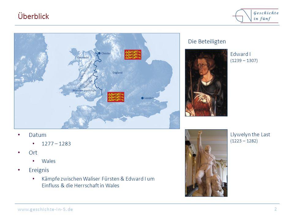 www.geschichte-in-5.de Überblick Datum 1277 – 1283 Ort Wales Ereignis Kämpfe zwischen Waliser Fürsten & Edward I um Einfluss & die Herrschaft in Wales 2 Edward I (1239 – 1307) Die Beteiligten Llywelyn the Last (1223 – 1282)