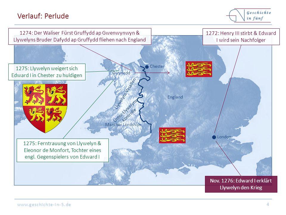 www.geschichte-in-5.de Verlauf: Perlude 4 England Gwynedd Llywelyns Vasallen Marcher Lordships Unter Llywelyns Kontrolle London Chester 1272: Henry II