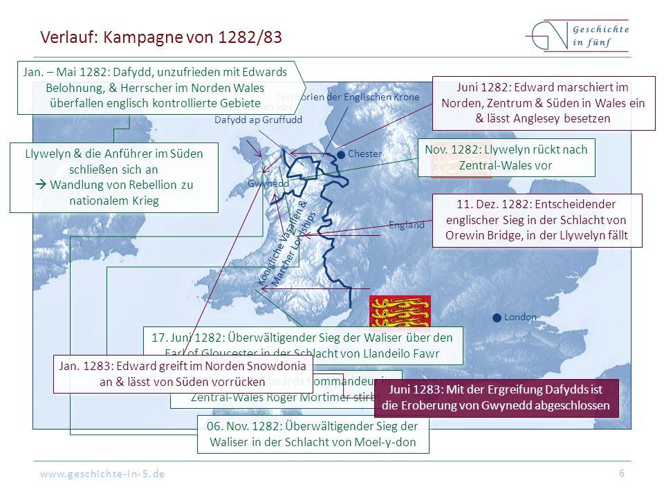 www.geschichte-in-5.de Folgen 7 England Marcher Lordships Fürstentum von Nord- Wales Marcher Lordships London Chester Territorien des Monarchen Sicherung von Wales durch (1) Umfangreiche Ansiedlung von Engländern, (2) Bau von mehreren Burgen & (3) Einführung des englischen Rechts Mit den Laws of Wales Acts (1535 & 1542) wird Wales effektiv Teil des englischen Königreichs Beginn der Tradition, nach welcher der englische Thronfolger Prince of Wales wird Wales verliert seine Unabhängigkeit & wird neu aufgeteilt