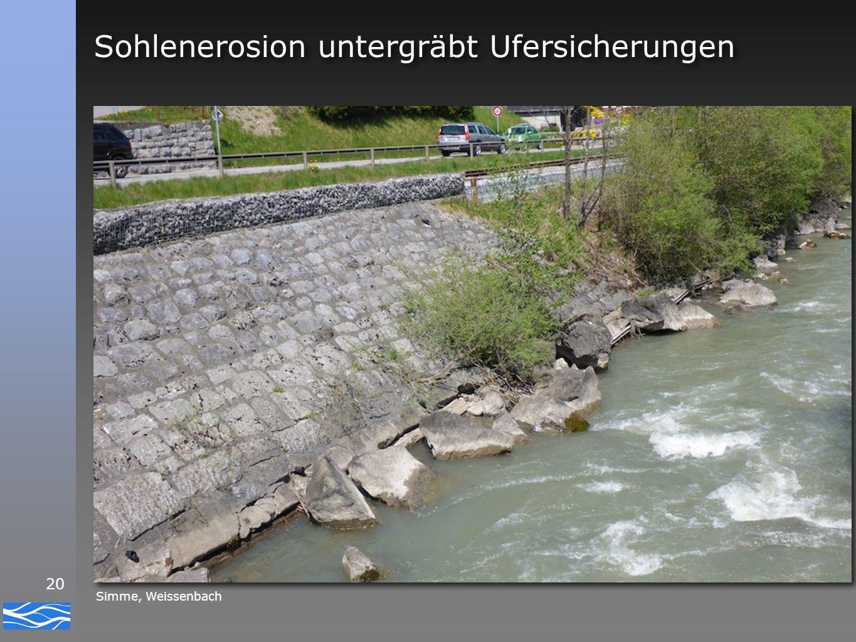20 Sohlenerosion untergräbt Ufersicherungen Simme, Weissenbach