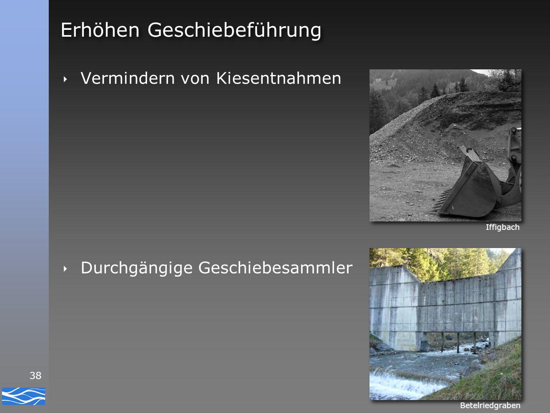 38 Erhöhen Geschiebeführung ‣ Vermindern von Kiesentnahmen ‣ Durchgängige Geschiebesammler Betelriedgraben Iffigbach