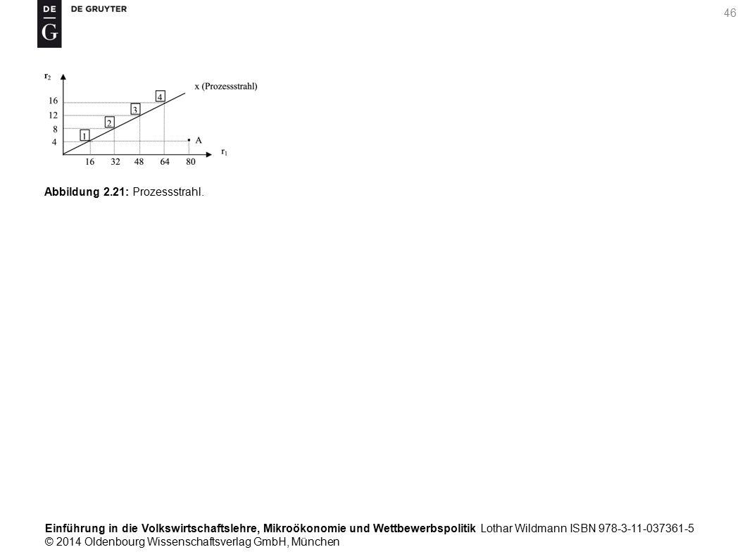 Einführung in die Volkswirtschaftslehre, Mikroökonomie und Wettbewerbspolitik Lothar Wildmann ISBN 978-3-11-037361-5 © 2014 Oldenbourg Wissenschaftsverlag GmbH, München 46 Abbildung 2.21: Prozessstrahl.