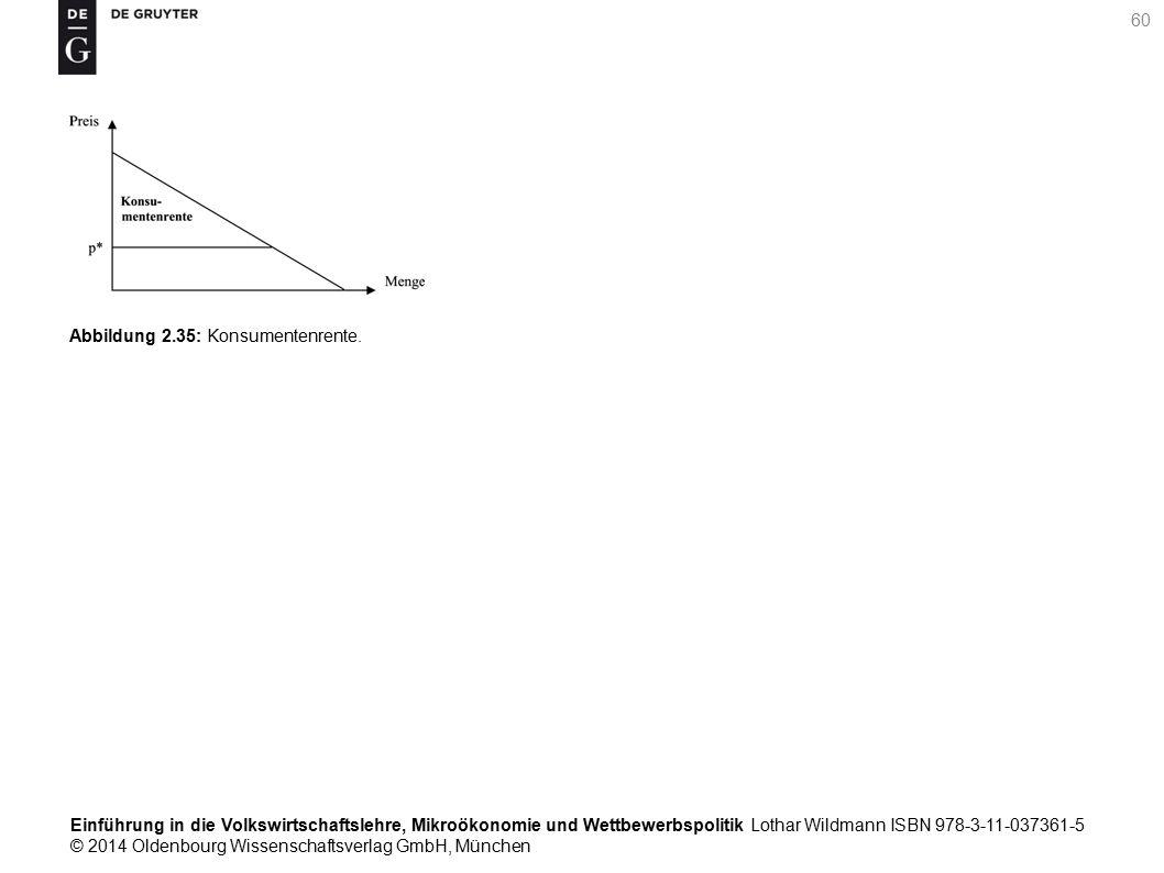 Einführung in die Volkswirtschaftslehre, Mikroökonomie und Wettbewerbspolitik Lothar Wildmann ISBN 978-3-11-037361-5 © 2014 Oldenbourg Wissenschaftsverlag GmbH, München 60 Abbildung 2.35: Konsumentenrente.