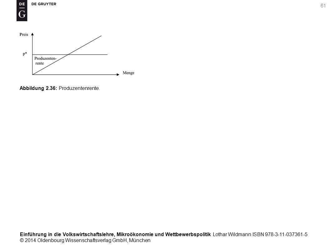 Einführung in die Volkswirtschaftslehre, Mikroökonomie und Wettbewerbspolitik Lothar Wildmann ISBN 978-3-11-037361-5 © 2014 Oldenbourg Wissenschaftsverlag GmbH, München 61 Abbildung 2.36: Produzentenrente.