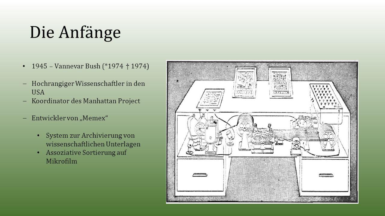 """Die Anfänge 1945 – Vannevar Bush (*1974 † 1974)  Hochrangiger Wissenschaftler in den USA  Koordinator des Manhattan Project  Entwickler von """"Memex System zur Archivierung von wissenschaftlichen Unterlagen Assoziative Sortierung auf Mikrofilm"""