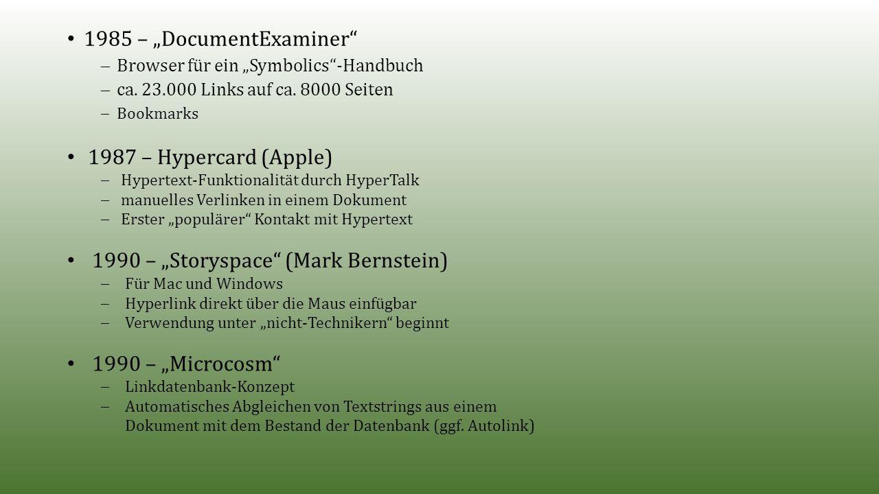 """1985 – """"DocumentExaminer  Browser für ein """"Symbolics -Handbuch  ca."""
