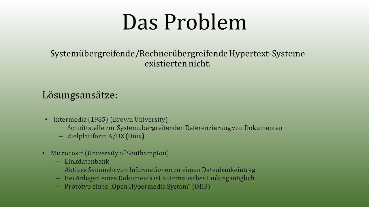 Das Problem Systemübergreifende/Rechnerübergreifende Hypertext-Systeme existierten nicht.