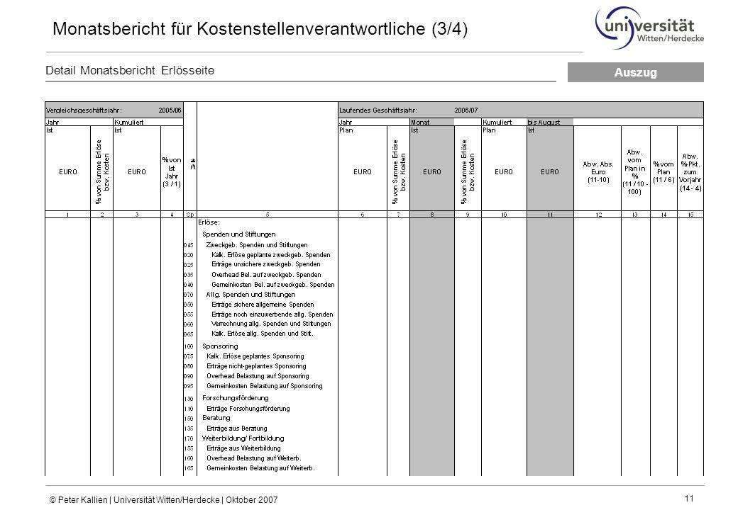 © Peter Kallien | Universität Witten/Herdecke | Oktober 2007 11 Detail Monatsbericht Erlösseite Monatsbericht für Kostenstellenverantwortliche (3/4) Auszug
