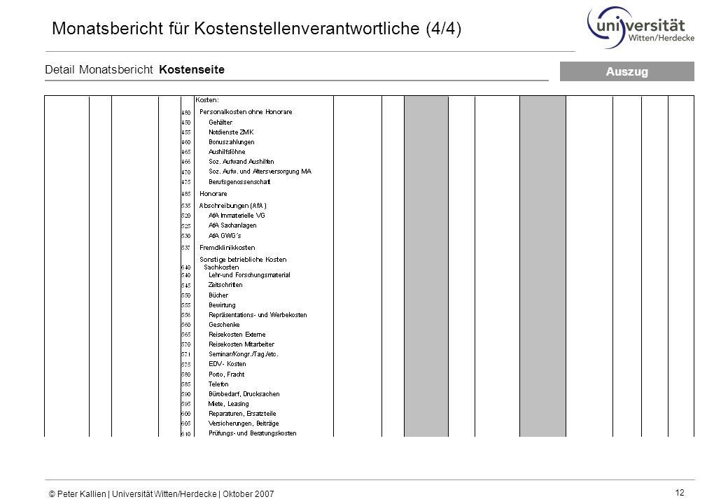 © Peter Kallien | Universität Witten/Herdecke | Oktober 2007 12 Detail Monatsbericht Kostenseite Monatsbericht für Kostenstellenverantwortliche (4/4) Auszug