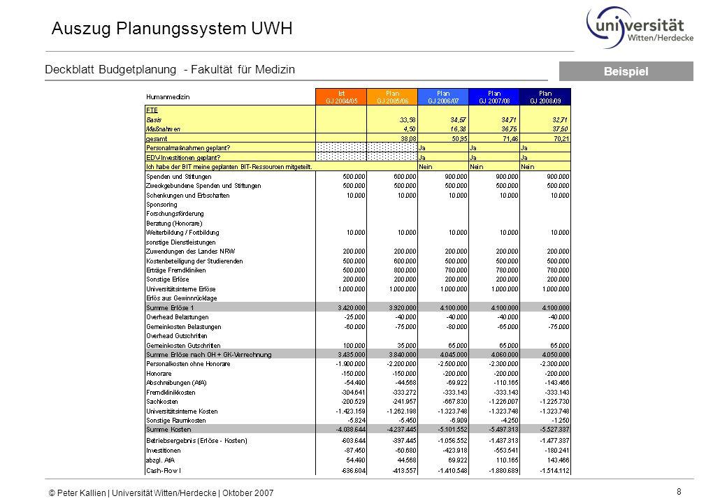 © Peter Kallien | Universität Witten/Herdecke | Oktober 2007 8 Deckblatt Budgetplanung - Fakultät für Medizin Auszug Planungssystem UWH Beispiel